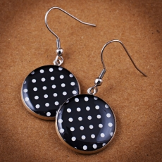 Round Earrings - Black and White Dots