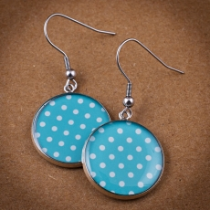 Round Earrings - Blue and White Dots