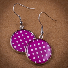 Round Earrings - Pink and White Dots