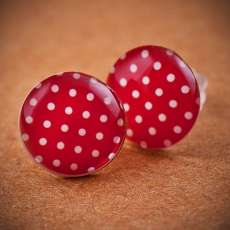 Stud Earrings - red and white dots