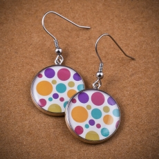 Round Earrings - Bubbles white